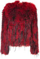 Balmain Veste fourrure rouge/noire