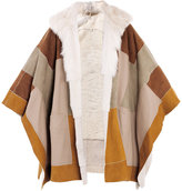 Chloe Patchwork shearling cape
